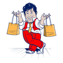 cartoon shopping man. big sale