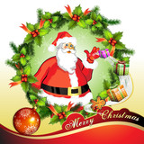 Christmas card, Santa Claus with gifts