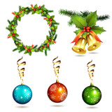 Christmas items, balls, frame pine and bells