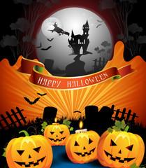 Halloween card design with pumpkins