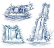 Water falls vector drawing - 41942995