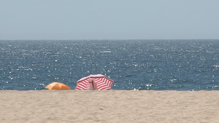Beach umbrellas in summer day