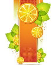 Slices orange with leaf