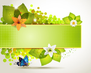Banner design with flowers