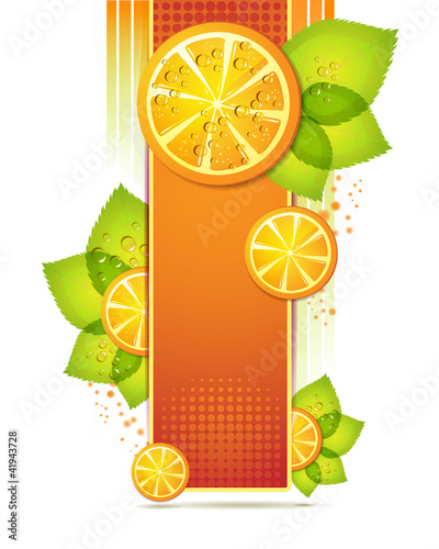 Slices orange with leaf