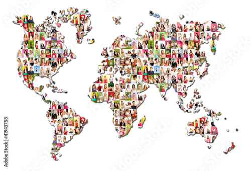 Portraits of a lot of people - world map