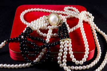 Jewelry box with a pearl necklace