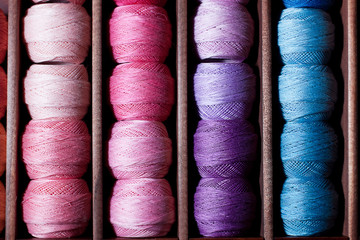 Pink and blue threads