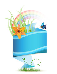 Origami blue background with flowers and butterflies