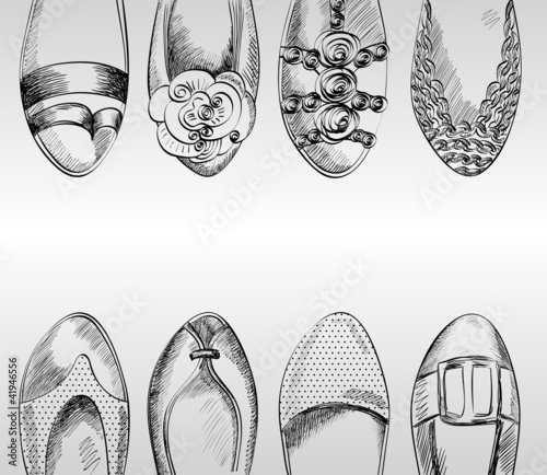 trendy fashion  shoes.  Fashionable Hand drawn illustration. - 41946556