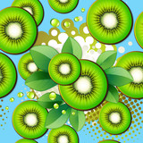 Seamless pattern with kiwi slices
