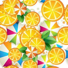 Seamless pattern with slice orange and umbrella