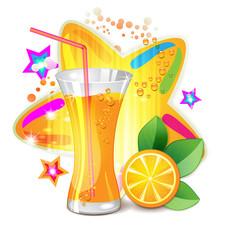 Glass of orange juice with slices orange