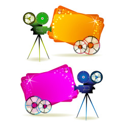 Film frames with camera and colored backgrounds