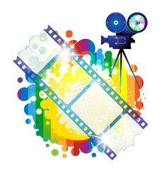 Film frames with camera over colorful background