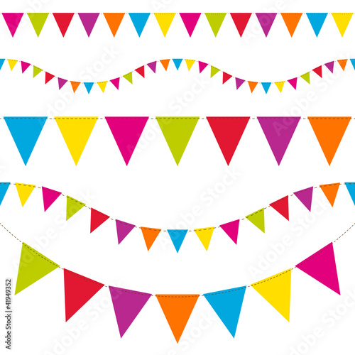 Set Of 5 Seamless Colored Festoons