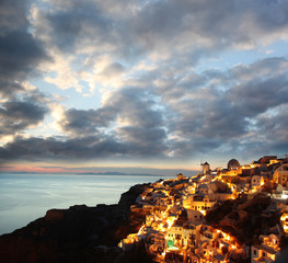 Santorini in the evening, Oia village, Greece