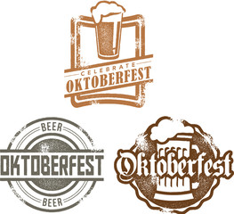 Vintage Style Oktoberfest Beer Stamps
