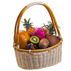 Tropic fruits in basket