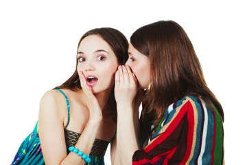 two happy young girlfriends make gossip