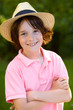 portrait of young sweet boy with straw hat 1