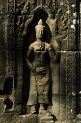 an apsara statue in a temple full body, cambodia