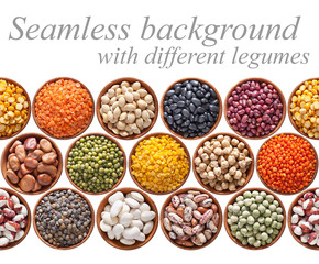 Seamless texture with legumes on white