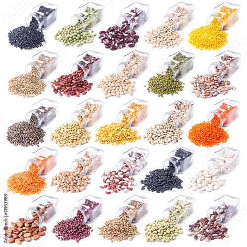 different legumes are scattered on a white background