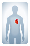 heart highlighted on the silhouette of a man