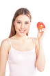 Happy Woman Holding Apple