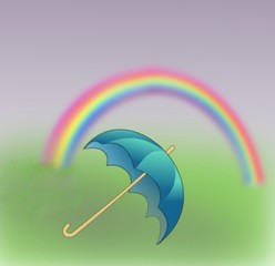 A blue umbrella and a rainbow.