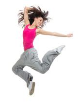 moderne mince hip-hop style de saut adolescente fille de danse