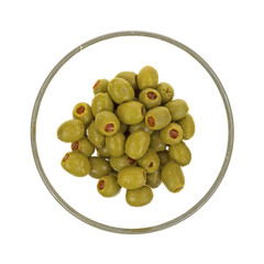 Stuffed olives in glass