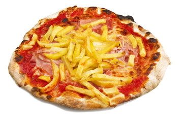 Pizza with ham and chips