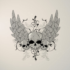 Vector illustration of a vintage skull with wings