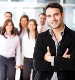 Businessman leading a group
