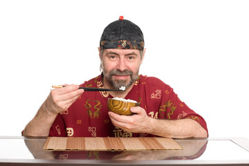 caucasian in chinese attire eating rice