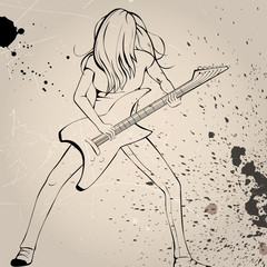 Vector illustration of a rock musician playing guitar