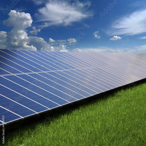 Solar panels on the grass
