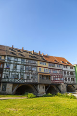Houses on Kraemerbruecke - Merchants Bridge in Erfurt, Germany