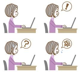 シニア女性 パソコン