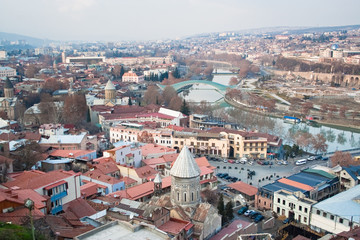 The Peace bridge and ancient churches in Tbilisi, capital of Rep