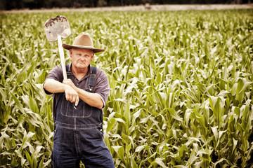 Vintage Old Farmer in the Corn Fields