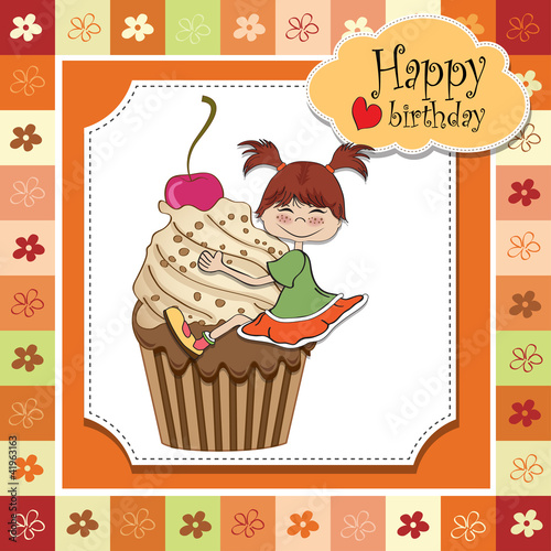 birthday card with funny girl perched on cupcake