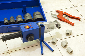 Installation of plastic pipes welder machine and hydraulic tools