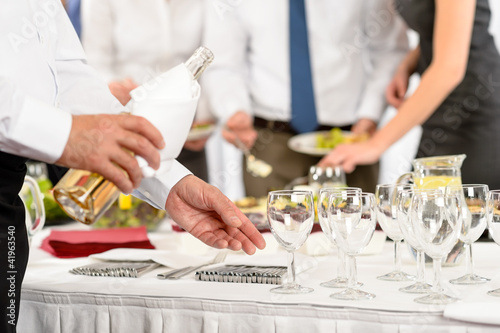 Business buffet lunch caterer serve wine appetizer