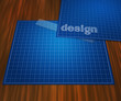 Blueprint Design on Table Background