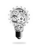 light bulb design by cogs and gears