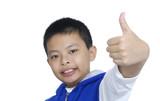 Funny child saying OK isolated on white background