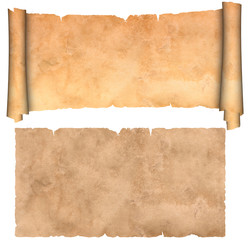 Scroll and sheet of antique parchment on a white background.